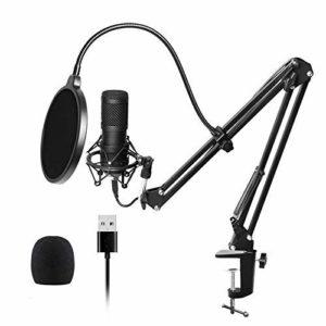BBZZ Microphone à condensateur avec support de trépied pour Youtube, Podcast, enregistrement, chat en ligne