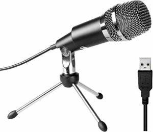 BBZZ Microphone PC Plug & Play Home Studio Cardioïde USB à condensateur pour Skype, enregistrements pour Youtube, Google Voice Search, jeux (Windows/Mac), Noir
