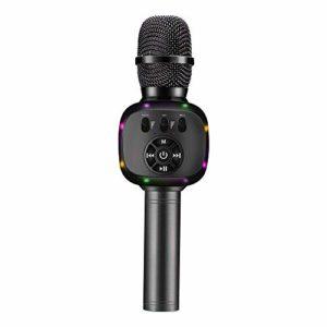 BONAOK Microphone Sans fil Bluetooth Karaoké, Lumières LED, Machine de Haut-parleur Micro Portable pour Jouets pour Enfants/Extérieur/Anniversaire/Maison/Fête (Gris Foncé)