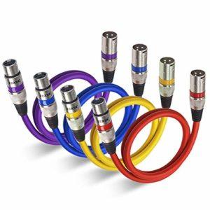 Câble XLR EBXYA Câble Jack XLR Mâle à Femelle Câble de Microphone Professionnel Cable Dmx 1M 4pack