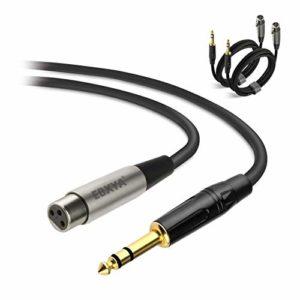 Câble XLR Jack EBXYA XLR Femâle vers 6,35mm TRS Jack Cable Câble Microphone XLR Symétrique- 3m 2 Packs