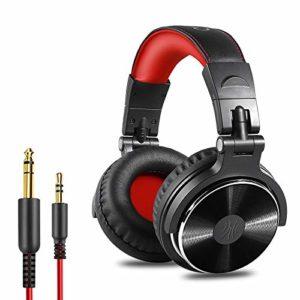 Casque DJ, OneOdio P10 Casque Audio Studio Professionnel, Casque Filaire, Casque de Monitoring, Son Parfait pour Synthétiseur PC Tablette Smartphone (Rouge)