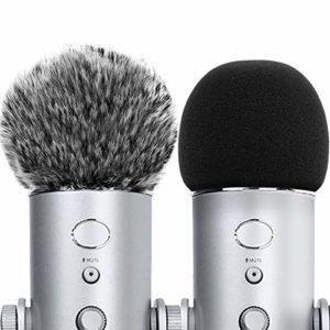 ChromLives Lot de 6 coques en mousse pour microphone Noir Combo Blue Yeti