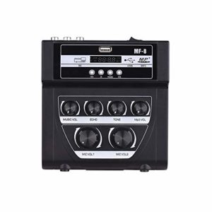 Contrôleur DJ intelligent Extérieur Karaoke double entrée microphone Amplificateur Microphone avec Bluetooth Enregistrement Effet Reverb Support USB / carte SD ( Color : Black , Size : 14.6x14x4.5 )