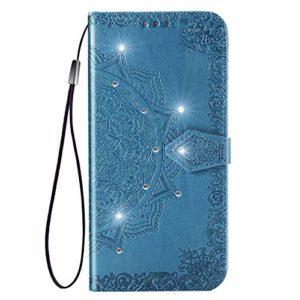 Coque pour Galaxy J8 Protection Housse en Cuir PU Pochette,[Emplacements Cartes],[Fonction Support],[Languette Magnétique] pour Samsung Galaxy J8 2018/J810F – DESD030404 Bleu
