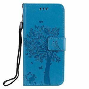 Coque pour Nokia 7.1 2018 Coque,Housse en Cuir Premium Flip Case Portefeuille Etui avec Stand Support et Carte Slot pour Nokia7.1 – EYKT021722 Bleu