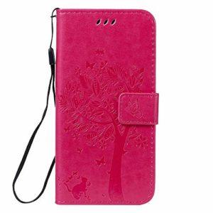 Coque pour Nokia 7.1 2018 Coque,Housse en Cuir Premium Flip Case Portefeuille Etui avec Stand Support et Carte Slot pour Nokia7.1 – EYKT021723 Rose Rouge