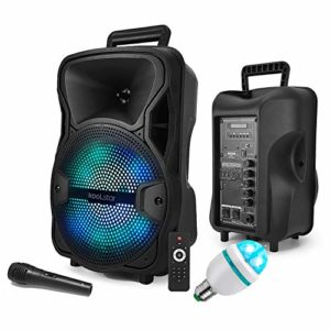 Enceinte Karaoke SONO DJ KoolStar autonome Mobile sur Batterie 8″ – 200W – USB/Bluetooth/SD + Micro + Tel + Ampoule DIAMS-3LED