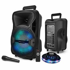 Enceinte SONO DJ KoolStar SPACER08 karaoke autonome Mobile sur Batterie 8″ – 200W – USB/Bluetooth/SD + Micro + Tel + Jeu Light UFO OVNI