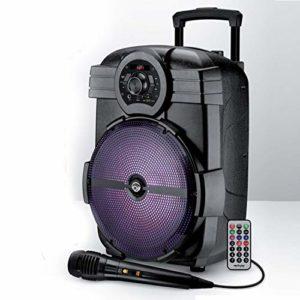 Enceinte sur batterie MyDj SONIC12 à LED – 600W – USB/BT/FM/AUX – Télécommande + Micro