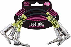 Ernie Ball Paquet de 3 câbles de raccordement à angle de 6 po – noir