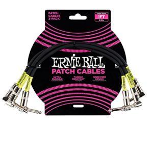 Ernie Ball Paquet de 3 câbles de raccordement à angle – noir