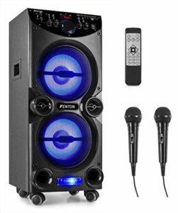 Fenton LIVE2104 – Enceinte de soirée à LED, Idéale pour karaoké, 400 Watts, LEDs intégrées, SD/USB et Technologie Bluetooth, Ecran de Lecture LCD, Télécommande et Deux Microphones