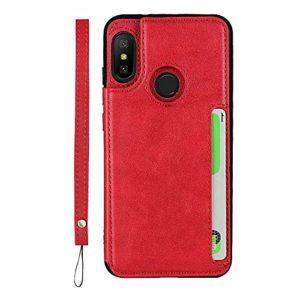 GIMTON Coque Xiaomi Redmi 6 Pro, Antichoc Coque Arrière en PU Cuir y TPU, Portefeuille Housse avec Fonction Stand y Sangle à Main pour Xiaomi Redmi 6 Pro, Rouge