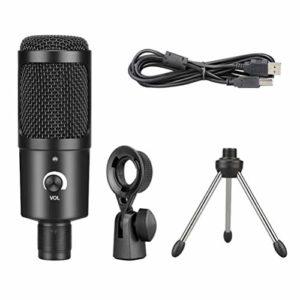 HEALLILY Microphone à Condensateur avec Trépied Micro Usb pour L'enregistrement sur Ordinateur de Jeu sur Ordinateur