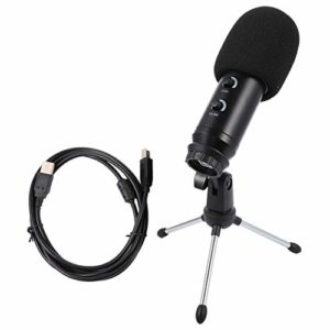 HEALLILY Microphone D'enregistrement Usb avec Trépied Micro à Condensateur D'enregistrement Pc de Jeu pour Diffusion en Direct sur Ordinateur