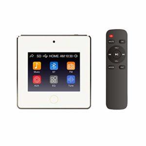 HELMER Amplificateur Audio Mural Bluetooth, Blanc, L60 | Récepteur de contrôle Audio à Montage Mural | MicroUSB, Carte TF, entrée auxiliaire | Connect 2 Haut-parleurs