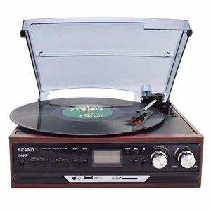 HXwsa Rétro système stéréo avec Turntable, Cassette, SD et Radio (AM, MP3, USB, écran LCD rétro-éclairé) Bluetooth et Radio Réception Idéal pour Toutes Les Occasions,A