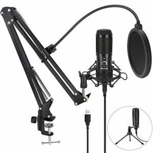 Jelly Comb Kit de Microphone à Condensateur Enregistrement USB Plug & Play avec Support de Trépied, Micro d'enregistrement 192 kHZ/24 Bits pour PC Ordinateur, Podcasting Professionnel,Youtube,Skype
