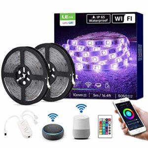 LE Ruban LED Connecté WIFI 10M 36W Étanche IP65, RGB 5050 Bande LED Adjustable Connectée Smartphone APP, Découpable avec Minuterie et Télécommande, Contrôlable à la Voix Alexa, Google Home