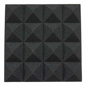 Lot de 12 panneaux muraux en mousse acoustique pyramide pour isolation acoustique 25 x 25 x 5 cm, pour la maison ou le studio Noir