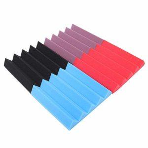 Lot de 24 dalles acoustiques en mousse pour studio – Panneau d'absorption du son – 9,8 x 9,8 x 1,9 cm
