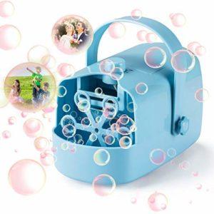 Machine à Bulles, Enfants Soufflante à Bulles Automatique Alimentée Portable Professionnel pour Mariage Anniversaire Soirée Extérieur Jardin (bleu)