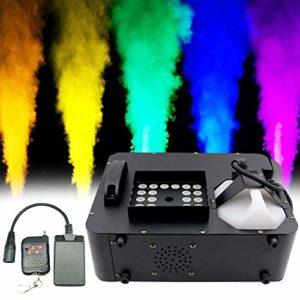 Machine à Fumée Machine à Brouillard, DMX RGB 3 in1 24 LED Machine à Fumée Éclairage de Scène Projection Verticale W/Remote, pour Les Fêtes de Noël d'Halloween en Intérieur en Extérieur Mariage