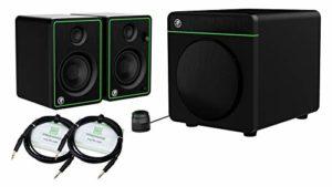 Mackie CR4-X Système de sonorisation multimédia Bluetooth 2.1 avec paire de moniteurs 4″ et caisson de basses Bluetooth 8″ + 2 câbles stéréo 3 m