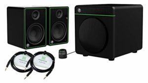 Mackie CR5-X Système de sonorisation multimédia Bluetooth 2.1 avec paire de moniteurs 5″ et caisson de basses Bluetooth 8″ et 2 câbles stéréo 3 m