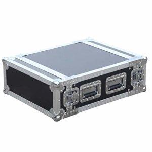 MEEY DJ Rack Case Petit Portable Audio Recording Studio Rack Rack Cabinet avec poignée verrouillables Malettes W (Color : Black, Size : 2U)