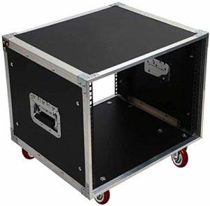 MEEY Flight Case 8U DJ Audio Support/Route ATA Boîtier avec Verrouillage roulettes Mélangeur Route Case – 522 * 432 * 513mm