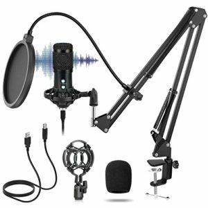 Micro à Condensateur USB Cardioïde 192 KHz/24 bit, SUCASTLE Microphone Professionnel de Studio Podcast Plug And Play Avec Support de Microphone Réglable Suspension Ciseaux Bras de Fixation Antichoc