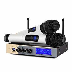 Microphone sans Fil Karaoké UHF Micro sans Fil UHF Bluetooth Micro HFProfessionnel 2 Micro à Main + 1 Récepteur avec 1 Câble Audio de 6,5 mm 2 Canaux pour Fête Conférence Spectacle Bar Réunion