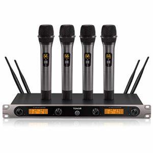 Microphone sans Fil UHF, TONOR Ensemble de Karaoké 3 Canaux 4 Micros Professionnel pour Fêtes, Karaokés, Église, Mariage, DJ, Plein air, Performance sur Scène 60m (TW-820 Plus)