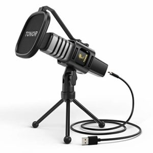 Microphone USB, TONOR Micro à Condensateur pour PC, avec Trépied, Filtre anti-pop, Support anti-choc pour Jeux, Streaming, Podcasting, YouTube, Voix Off, Skype, Twitch, Discord, pour Ordinateur, TC30