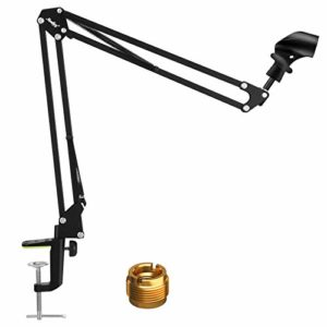 Moukey MMs-1 Support de microphone réglable avec clip anti-dérapant pour studio de diffusion, studio de Dubbing, scène et stations de télévision
