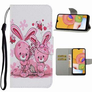 Nadoli Flip Housse pour Samsung Galaxy S10,Mignonne Rose Lapin Modèle Magnétique Fonction de Support Coque Étui Portefeuille en Cuir avec Fentes pour Cartes