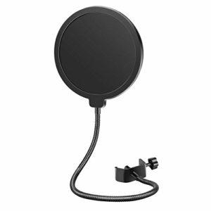 Neewer Filtre Anti-pop Bouclier de Microphone Professionnel Compatible avec Yéti Bleu et Tout autre Microphone, Écran Anti-vent à Double Couche avec Bras Flexible Clip à Col de Cygne à 360 degrés