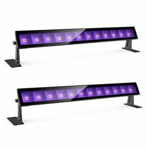 Onforu Lot de 2 UV Lumière Bar 24W, Projecteur LED Lumière Noire, Niveau UV-A Lampe LED Ultra-violet, IP66 Étanche Extérieur UV Wall Washer Éclairage pour Halloween, Noël, Soirée, Disco, Fête