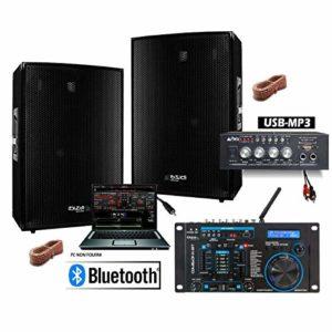 Pack Sono 600w Total avec 2 enceintes 300w + Ampli compact Bluetooth USB + Table de mixage nombreuses possibilités