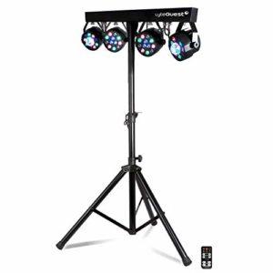 Pack X-Performer BAR LyteQuest Jeu de lumière Portique + 4 projecteurs PAR/UV/ FRIZTAL DMX – 18 programmes – 2 sacoches + Tél