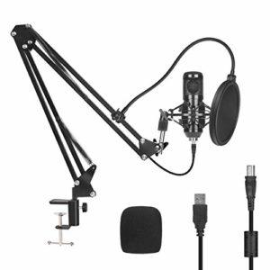 PEYOU Microphone à Condensateur USB Enregistrement pour Ordinateur de Bureau et Ordinateur Portable Mac Windows Microphone Cardioïde pour Vocal,Musical,Gaming,Broadcasting,Youtube