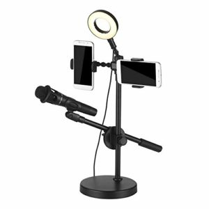 Pied De MicroAnneau Lumineux Selfie Avec Support De Téléphone Et Support De Microphone 3 Modes D'éclairage 9 Niveaux De LuminositéConvient Pour Stage Studio