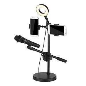 Pied De MicroAnneau Lumineux Selfie Avec Support De Téléphone Et Support De Microphone 3 Modes D'éclairage 9 Niveaux De LuminositéPied De Microphone