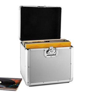 Resident DJ Zeitkapsel Valise à vinyles en aluminium pour stocker et transporter jusqu'à 70 disques (poignées de transport, fermeture en papillon, robuste) – argent