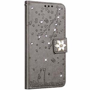 Saceebe Compatible avec Samsung Galaxy J3 2016 Coque Pochette Portefeuille Housse Cuir Glitter Diamant Fleur de cerisier Chat Coque Flip Case Support Stand Housse Magnétique Étui à Rabat,Gris