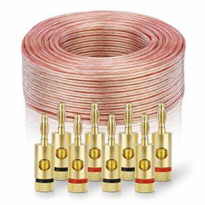 sonero® 100 mètres 2×1.50mm² CCA câble de Haut-Parleur/câble d'enceinte, Couleur: Transparent, Set Comprenant 8 fiches Bananes