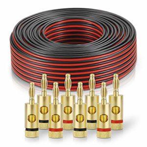 sonero® 100 mètres 2×2.50mm² CCA câble de Haut-Parleur/câble d'enceinte, Couleur: Rouge/Noir, Set Comprenant 8 fiches Bananes