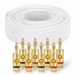 sonero® 100 mètres 2×4.00mm² CCA câble de Haut-Parleur/câble d'enceinte, Couleur: Blanc, Set Comprenant 8 fiches Bananes
